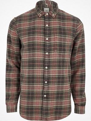 Skjortor - River Island River Island Mens Red check button-down long sleeve shirt