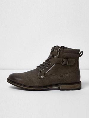 Boots & kängor - River Island River Island Mens Grey military boots