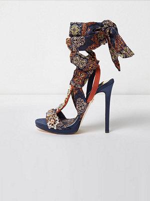 Sandaler & sandaletter - River Island River Island Womens Navy butterfly print satin heeled sandals