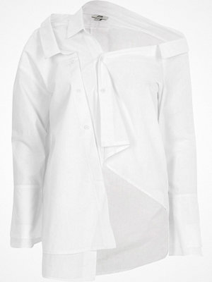 River Island River Island Womens White deconstructed long sleeve shirt