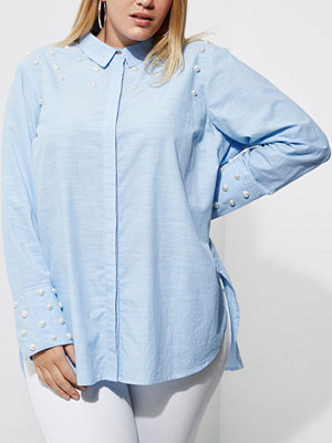 River Island River Island Womens Plus Blue faux pearl embellished shirt