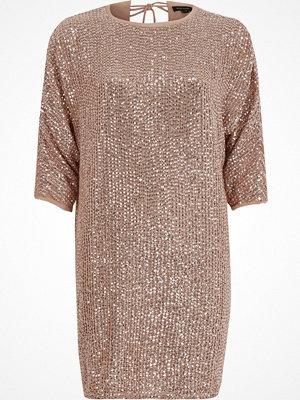 River Island Pink sequin embellished T-shirt shift dress