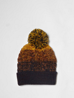 Mössor - River Island Yellow ombre cable knit bobble beanie hat