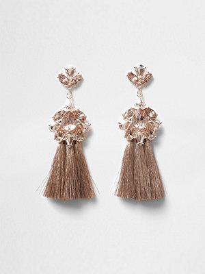 River Island örhängen Rose Gold tone jewel tassel drop earrings