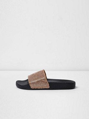 Sandaler & sandaletter - River Island River Island Womens Gold metallic sparkly sliders