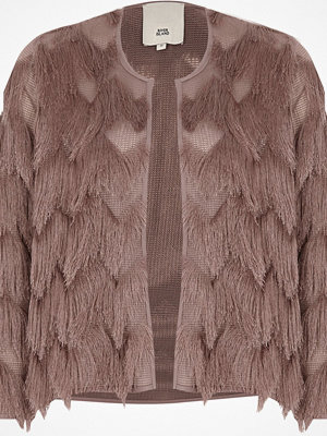 River Island River Island Womens Pink three quarter sleeve fringe short jacket