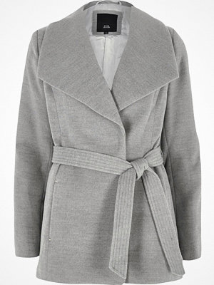 River Island Grey short belted robe coat