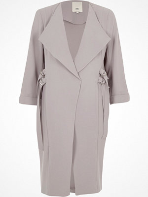 River Island River Island Womens Light Grey D-ring tie sides duster coat