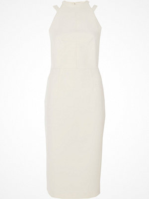 River Island Cream bow back midi bodycon dress