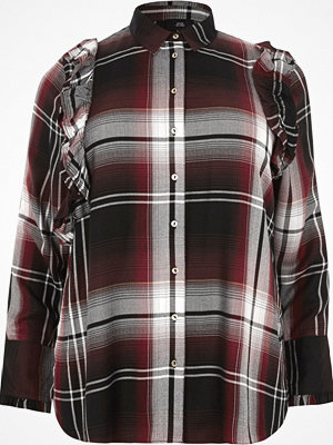 River Island River Island Womens Plus Red check frill front shirt