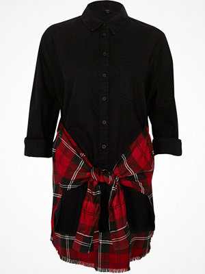 River Island River Island Womens Black and red check hybrid tie shirt