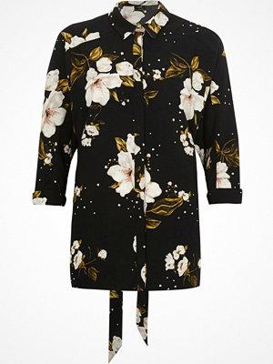 River Island Black floral print oversized shirt