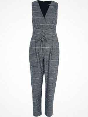 Jumpsuits & playsuits - River Island River Island Womens Grey check corset waist belt jumpsuit
