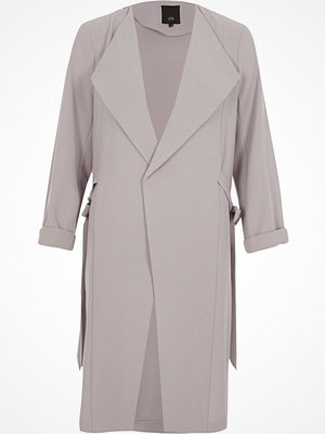 River Island River Island Womens Light Grey tie sides duster coat