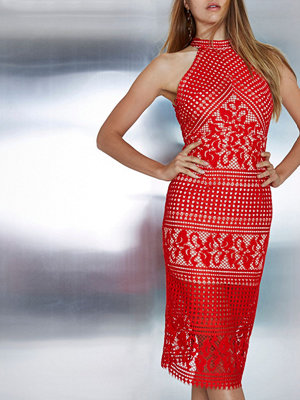 River Island Red lace high neck midi bodycon dress