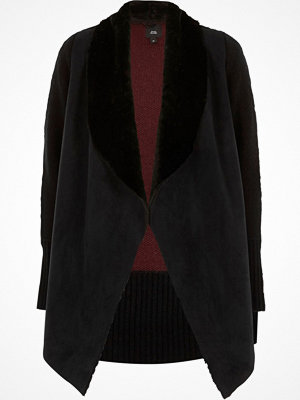 River Island River Island Womens Black faux suede knit back cardigan