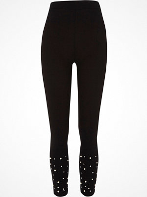 Leggings & tights - River Island River Island Womens Black faux pearl embellished leggings
