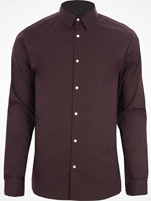 Skjortor - River Island Dark Purple long sleeve muscle fit shirt