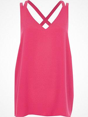 River Island Bright Pink double strap cross back vest