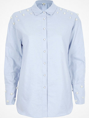 River Island Light Blue faux pearl embellished shirt