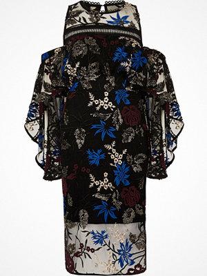 River Island River Island Womens Black embroidered frill layer midi dress