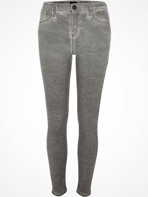 River Island Grey Amelie coated super skinny jeans