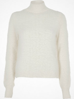 River Island River Island Womens White fluffy knit high neck jumper