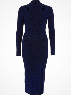 River Island River Island Womens Navy metallic cut out knitted bodycon dress