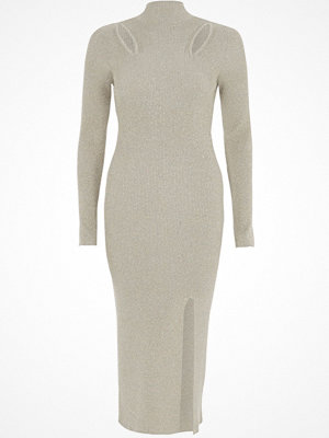 River Island River Island Womens Silver metallic cut out knitted bodycon dress