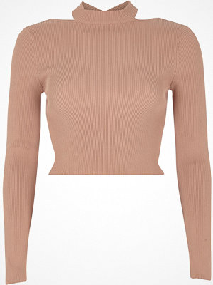 River Island River Island Womens Pink ribbed fitted long sleeve crop top