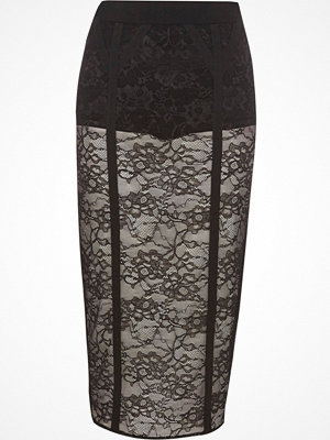 River Island Black lace panel pencil skirt