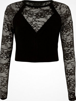 River Island River Island Womens Black lace insert long sleeve fitted top
