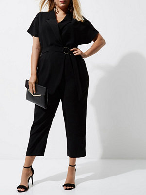 River Island River Island Womens Plus Black tuxedo jumpsuit