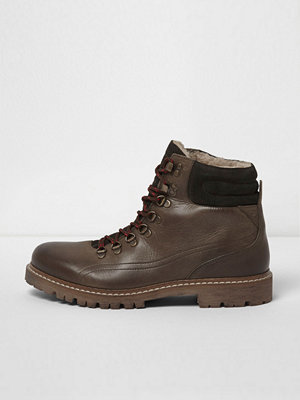 Boots & kängor - River Island Dark Green borg lined lace-up hiker boots
