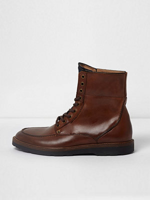 River Island River Island Mens Tan leather apron toe lace-up boots