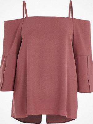 River Island River Island Womens Dark Pink bardot split sleeve top