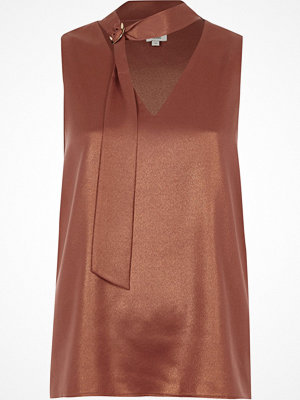 River Island River Island Womens Copper foil D-ring neck sleeveless top
