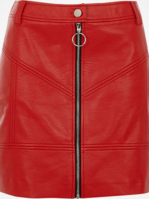 River Island Red faux leather zip front mini skirt