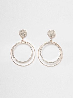 River Island örhängen Rose Gold tone pave hoop drop earrings