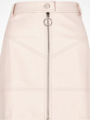 River Island Light Pink faux leather zip front mini skirt