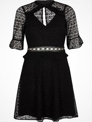 River Island Black lace frill waisted dress