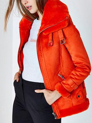 River Island Bright Orange faux fur trim aviator jacket