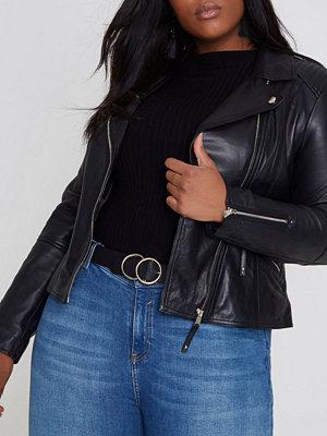 River Island Plus Black leather biker jacket