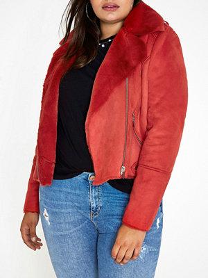 River Island Plus Red faux shearling biker jacket