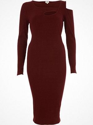 River Island River Island Womens Burgundy rib cut out asymmetric bodycon dress