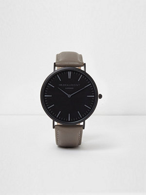 Klockor - River Island River Island Mens Grey and black Mr Beaumont round face watch