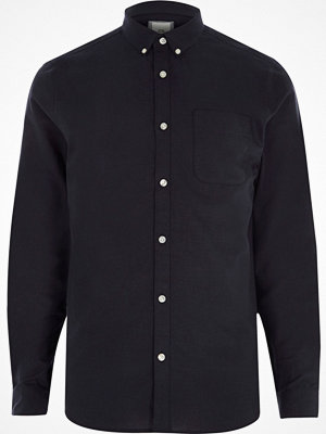 Skjortor - River Island Navy Oxford long sleeve shirt