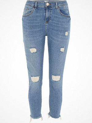 River Island Petite Blue rip Alannah relaxed skinny jeans