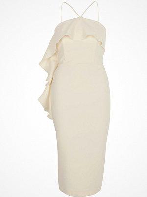River Island Cream halter neck frill bodycon midi dress