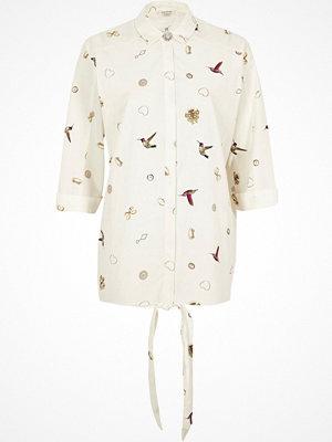 River Island River Island Womens White jewellery and bird print shirt